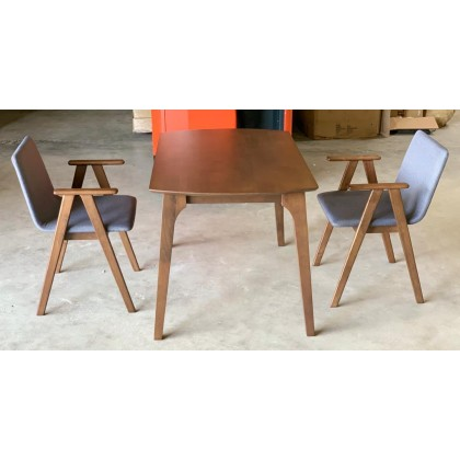 [1 + 2]GF LUX ARM CHAIR SOLID WOOD DINING SET